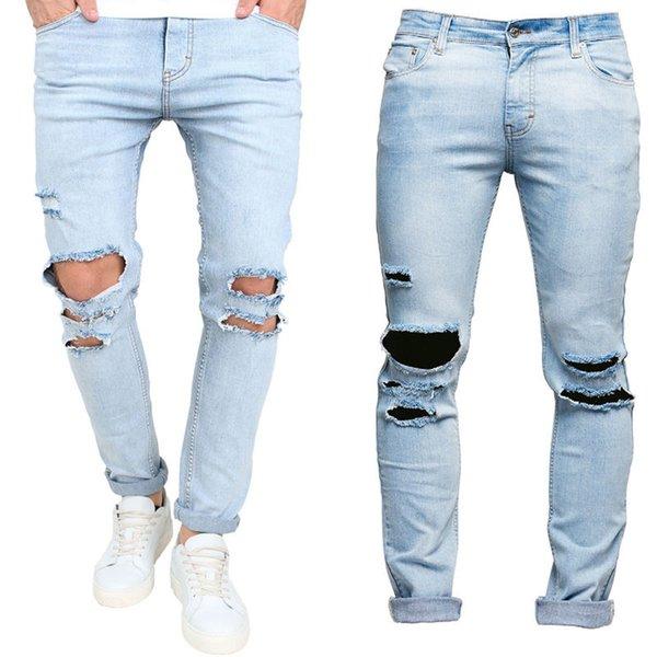 Men Skinny Runway Straight Elastic Denim Pants Army Destroyed Ripped Jeans