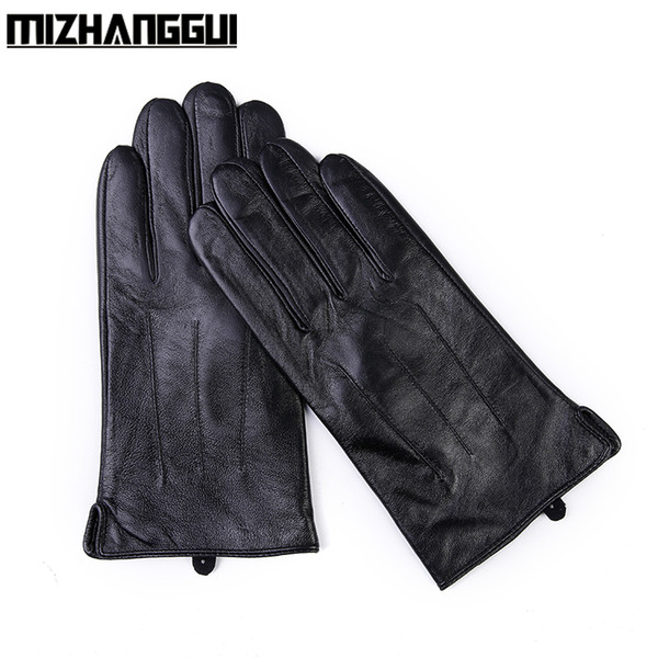 Men's Sheepskin Gloves for Smartphone Fashion Warm Black Winter Men's Genuine Leather Touch-sensitive Gloves for Touch Screens