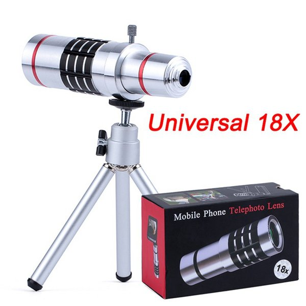 Universal Clip On 18X Telephoto Lens Mobile Phone 18x Optical Zoom Telescope with Aluminum Alloy Tripod for iPhone Samsung smartphone