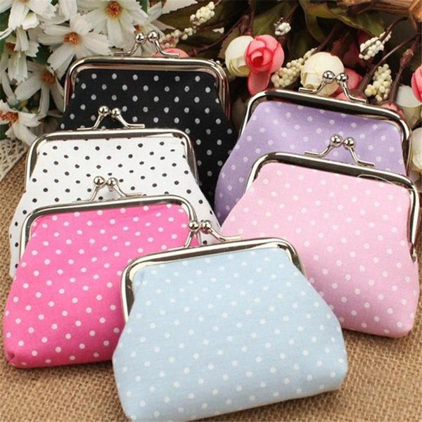 Wallets Holders Women Coin Purses High Quality Linen Dot Wholesale Fashion Wave Stripe Faux Leather Wallet Lovely Girl Coins
