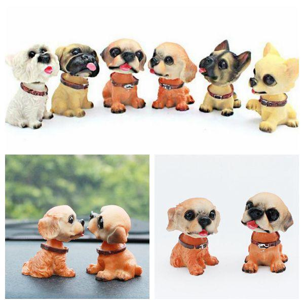 6 estilos Nodding Dog Car Shake Head Dog Dolls Dashboard Decoración del coche Accesorios Auto Shaking Head Toy Car Artículos de novedad CCA10378 48set