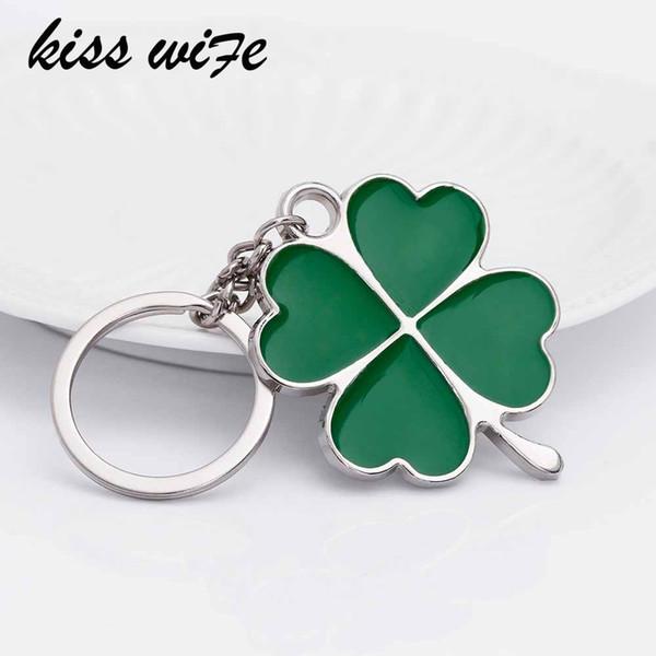 KISS WIFE Inoxydable Haute Qualité Vert Feuille Porte-clés De Mode Créatif Belle Quatre Trèfle À Feuilles En Acier Chanceux Porte-clés Bijoux