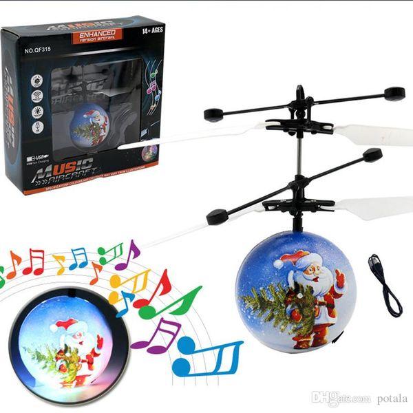 Müzik Noel Elektrikli Kızılötesi Sensör Uçan Topları Noel Baba Indüksiyon uçak Oyuncaklar RC Helikopter Askıya Drone Oyuncak Çocuklar Yılbaşı Hediyeleri