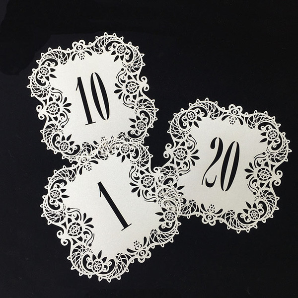 10pcs/set Wedding Table Number Table Cards Hollow Laser Cut Numbers Card Vintage Wedding Decoration Event Party Supplies Table Cards.