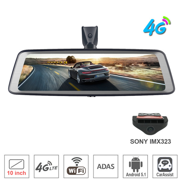 """Newest 10"""" Full Touch IPS 4G Car DVR Camera Android rearview mirror Dash Cam GPS navigation Bluetooth WIFI ADAS Remote monitor backup mirror"""