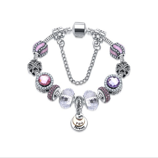 Fashion 925 Sterling Silver Violet Murano Glass Lampwork European Charm Bead Me You Forever Dangle Fits Pandora Charm Bracelets Necklace
