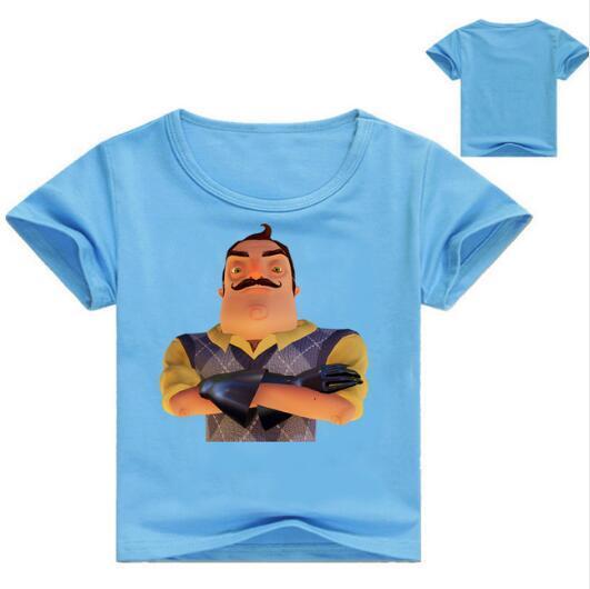 Children summer cotton t shirt Hello neighbor Cartoon for kids Baby Sport T-shirt kids clothes birthday boyT baby shirt clothes