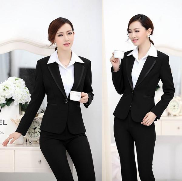 New 2015 Femininos EleBlack Fashion Slim Business Work Wear Suits Jacket And Pants For Office Ladies Uniform Style Set