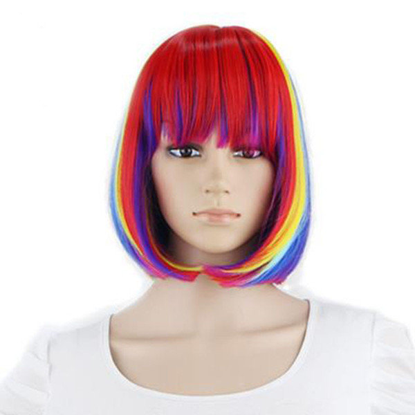 "Free Shipping Hot 12"" Short Straight Bob Wigs Cosplay Colorful for Costume Wig for Women Party"