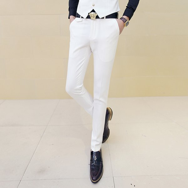 Men White Dress Pants Male Skinny Slim Fit Trousers White Men Suit Pants Trousers Male Classic Desinger Brand Red Black 10 Color