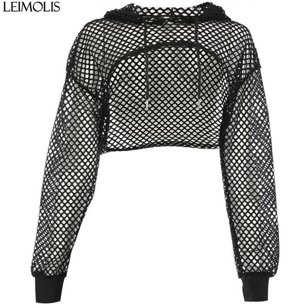 LEIMOLIS women sexy mesh T shirt transparent hooded long sleeve crop top summer girls black short tee tops female party clothes