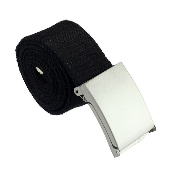 MYPF-New prático Mens Black Canvas Webbing Web Belt fivela de metal (preto)