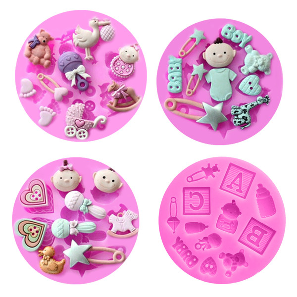 Kitchen 1PC Silicone Soap Mold Baby Theme Baby Carriage Fondant Cake Decorating Moulds Chocolate Stencils Pastry Baking Pan