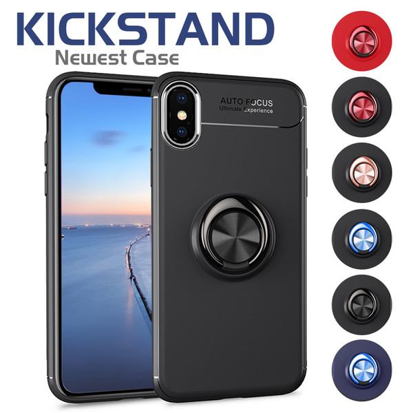 Estuche de armadura resistente para iPhone XS MAX Estuche de cubierta Soporte de anillo magnético Kickstand Soporte para auto para Huawei P20 Mate 10 Pro Galaxy S8 S9 Plus