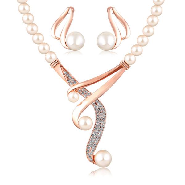 ARUEL set di gioielli da sposa di moda in cristallo da sposa perline africane colore oro europeo imitazione collana di perle regalo orecchino