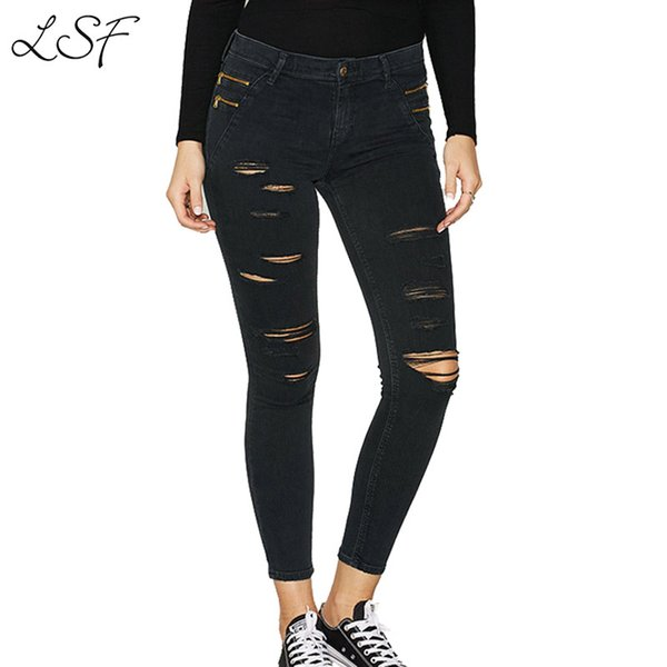 New Cotton Jeans For Women Black Mid-waist Casual Ripped Jeans For Women Vintage Sexy Fashion Hole Distressed Skinny Pencil Pant