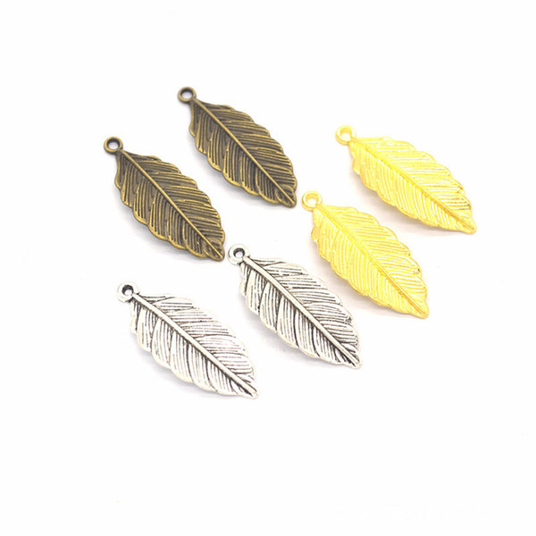 10 x Antique gold leaf charms pendants 5cm leaves  metal bead jewelry