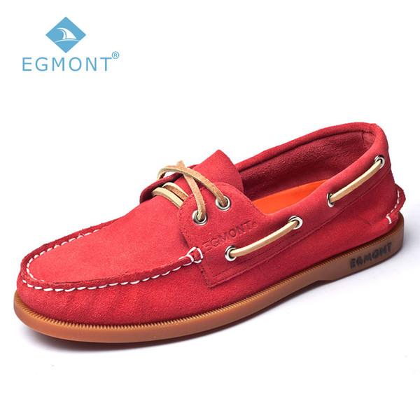 Egmont EG-52 Kırmızı Bahar Yaz Tekne Ayakkabı Mens Casual Ayakkabı Loafer'lar Hakiki Deri El Yapımı Rahat Nefes