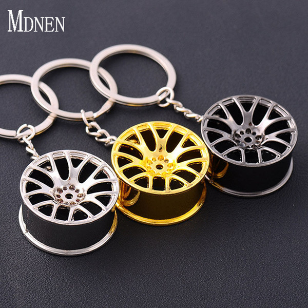 MDNEN Fashion Alloy Material Car Key Chain Auto Wheel Styling Keychain Gold Silver Metal Tire Key Rings Men Accessories Gift