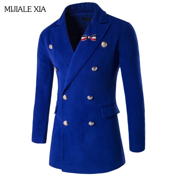 Al por mayor-Venta caliente Trench Coat Hombres Tops estilo otoño doble Breasted Trench Coat Alta calidad tela paño de lana largo Mens Coat SizeM-2XL