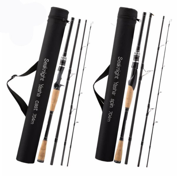 Lure Fishing Rod 2.1M 2.4M 2.7M 4 Section M Power Carbon Fiber Spinning/Casting Travel Rod 10-30g Fishing Tackle Free Shipping