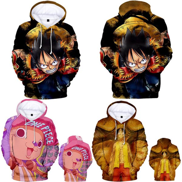 Harajuku Anime One Piece Luffy 3D Print Hoodies Men/Women Hip Hop Pullovers Hat Sweatshirts Hooded Big Kids Clothes 2XS-4XL
