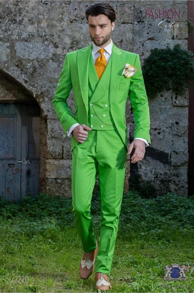 High Quality One Button Grass green Groom Tuxedos Peak Lapel Groomsmen Mens Wedding Business Prom Suits (Jacket+Pants+Vest+Tie) NO:1369