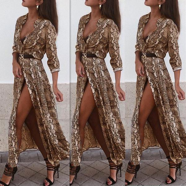 Robes tout-aller Boho Style Dress Femmes Plage Dress D'été Nouvel An Vintage Col En V Split Robe De Fiesta FS5179