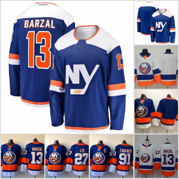 13 Mathew Barzal 2018 2019 Stagione New Third New York Islanders 27 Anders Lee 91 John Tavares Maglie da hockey New Stitched New Jersey