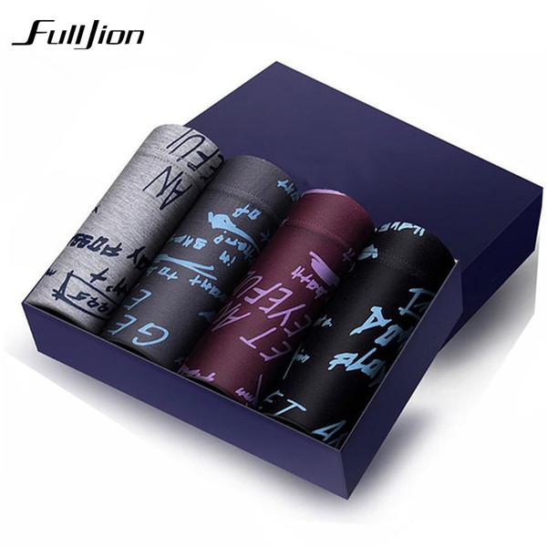 Fulljion Men Boxers 4Pcs/lot Solid print Shorts Modal Coon Underwear Breathable Comfortable Anti-Bacterial plus size Underwear