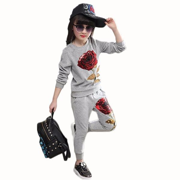 Baby Mädchen Kleidung Kinder Abnutzung Sets Kinder Frühling und Herbst Pailletten Rose Applique Langarm T-shirt + Hosen 3-7 Jahre Alt Y1892706