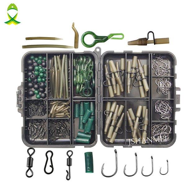 Boxes JSM 160pcs/lot Carp Fishing Tackle Kit Box Lead Clips/Beads/Hooks/Tubes/Swivels Baiting Terminal Rigs Carp Tackle Box