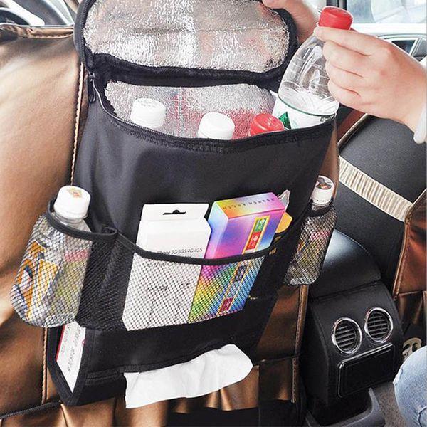 EMS 28 * 22 * 10 cm Preto Auto Refrigerador Do Carro Saco De Volta Saco De Cobertor De Pano Multi-Bolso Saco De Armazenamento De Viagem Gadgets Do Armário Organizador Sacos HH7-1211