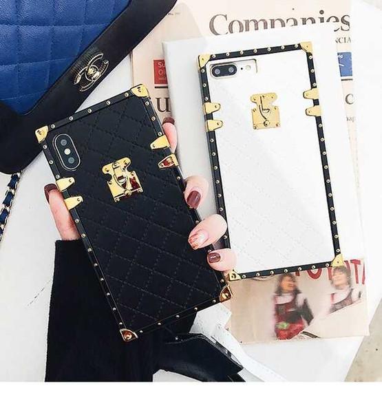 Cajas de lujo del teléfono de cuero de la PU para el iphone X 6 6s 7 8 más Moda Square Lattice Vintage teléfono contraportada Coque Lanyard Case