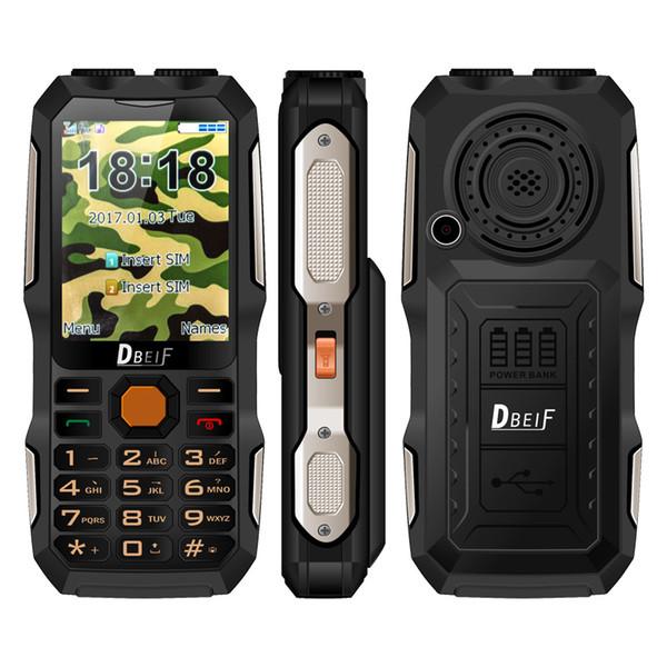 DBEIF D2016 Dual Sim Cellphone Flashlight Big Voice Big Battery FM Mp3/Mp4 Power Bank Antenna Analog Televisions Mobile Phone