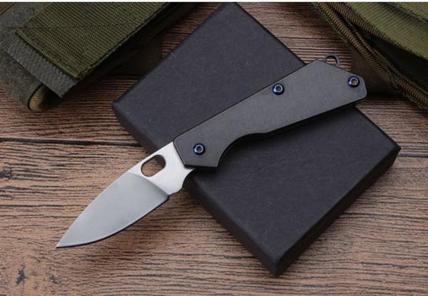 Mini STRIDER D2 blade TC4 titanyum alaşım Kolu Katlanır Pocket Knife Taktik Survival Avcılık Aracı Bıçak xmas hediye bıçak adam için 1 adet