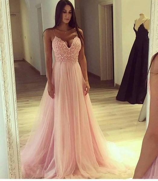 setwell / Elegante Blush Rosa Vestidos de Baile Rendas Top Sexy Spaghetti Uma Linha Formal Festa À Noite Vestidos de Tule Macio Barato Verão Da Dama de Honra