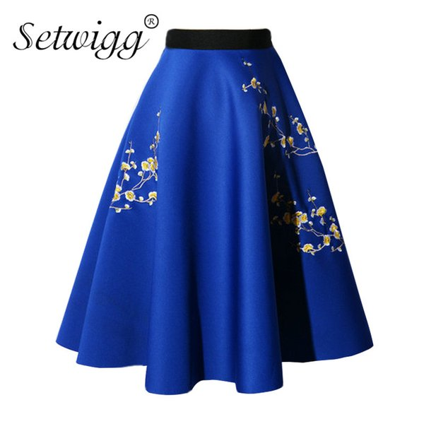SETWIGG Spring Scuba Fluffy Floral Embroidered Midi Skater Skirts Waist Stretch Plum Thick Flared Knee Autumn Skirts SG75