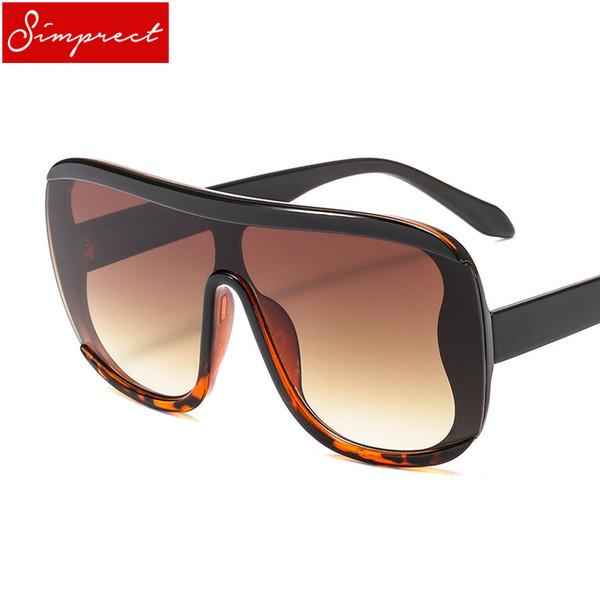 SIMPRECT Einteilige Übergroße Sonnenbrille Frauen 2018 Quadratischen Großen Rahmen Spiegel Gradient Sonnenbrille Marke Designer Zonnebril Dames