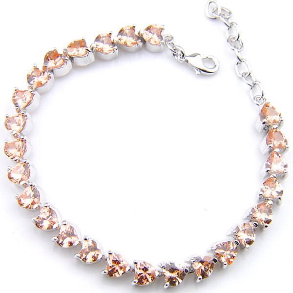 5Pcs Luckyshine Sparking Fire Heart-shaped Morganite Cubic Zirconia Gemstone Silver Chain Bracelets Bangles Holiday Wedding Party