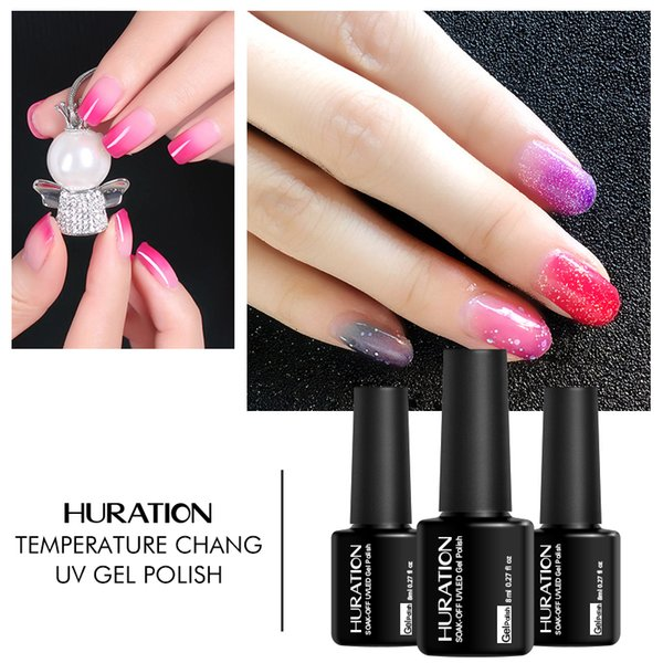 Huration Glitter 29 Color 8ml Temperature Change Mood Chameleon Gel Varnish Art Long Lasting UV LEDGel Nail Polish Gel Lacquer