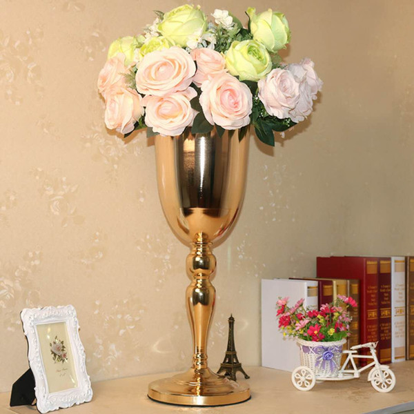 55cm/21.6 inch tall gold metal vases wedding decoration party road lead table centerpiece Wedding artificial flower vase