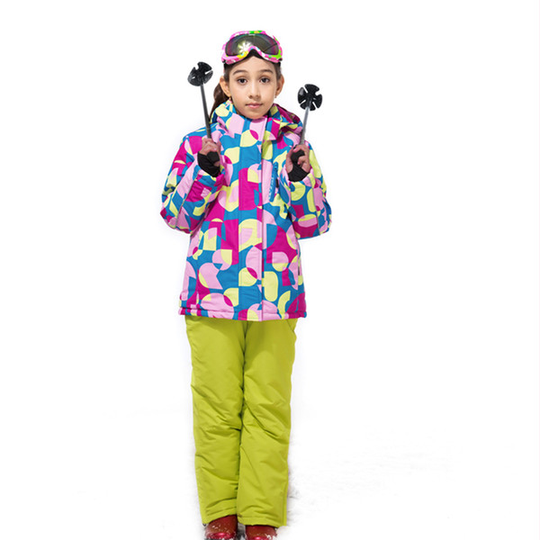 2018 Winter High Quality Thickening Waterproof Ski Suit Children Girls Warm Snowboarding Coat/Jacket+Overall Pants 110-160cm