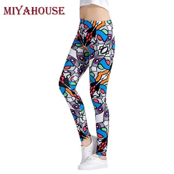 Miyahouse Femme Nouveau Mode Motif Imprimé Leggings Femmes Haute Élastique Longueur Cheville Leggins Filles Slim Fit Taille Haute Pantalon