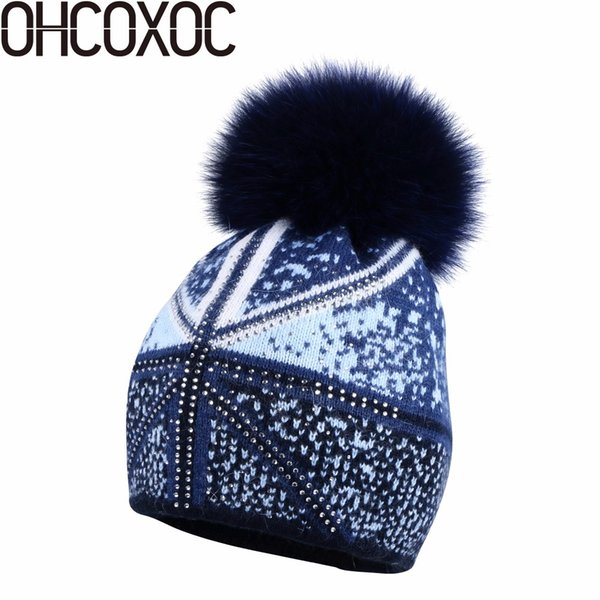 OHCOXOC New Women Beanies Real Fox Fur Pom Poms Ball Cap Keep Warm Beanies  Skullies Autumn woman fashion Cashmere Winter Hat c6a2190bf2c5
