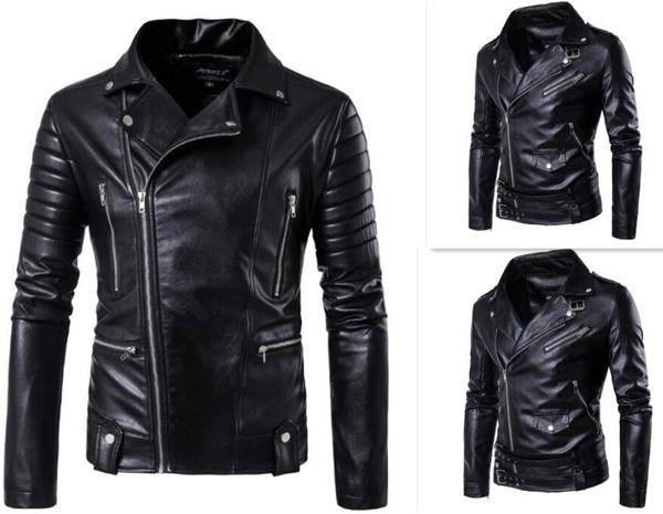 Hot 2017 Men's autumn winter brand rock leather jacket, motorcycle jacket, men leather clothes Slim mens leather jacket Coats S18101804