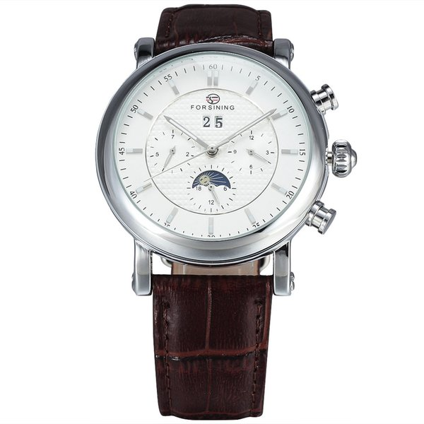 Mens Watches FORSINING Top Brand Luxury Automatic Moon Phase Auto Date 6 Pin Dial Leather Strap Dress Men Mechanical Wrist Watch