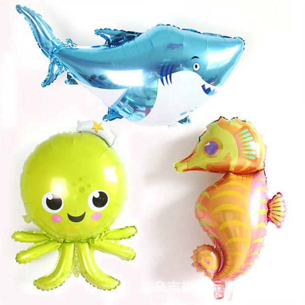 50PCS/LOT octopus Hippocampus lobster Spotted balloon fish shark foil helium balloons Marine life globos ocean animals theme party balloon