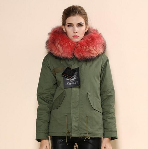 Meifeng brand watermelon red raccoon fur trim warm jackets watermelon red rabbit fur lined army green Military canvas mini parka