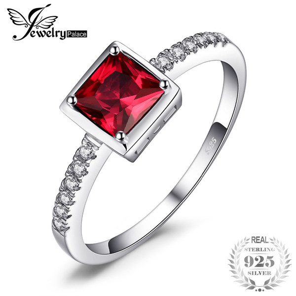 JewelryPalace 0.8ct Square Pigeon Blood Ruby Ring Solid 925 Sterling Silver Wedding Bands Ring For Women Fashion Fine Jewelry Y18102610